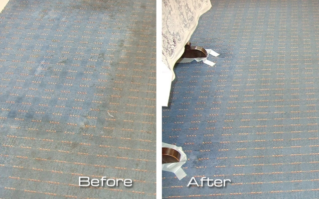 A greasy, dirty kitchen carpet brought back to life