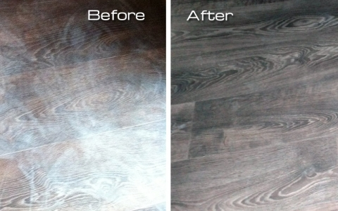 A new wood effect vinyl floor almost ruined by a tin of paint. Thankfully it all came out eventually!
